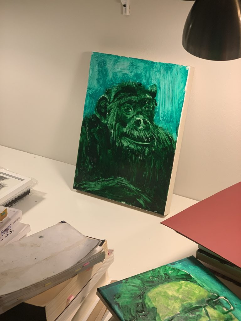 Painting of the Day: Disinformation I | Portrait of Chimpanzee 1