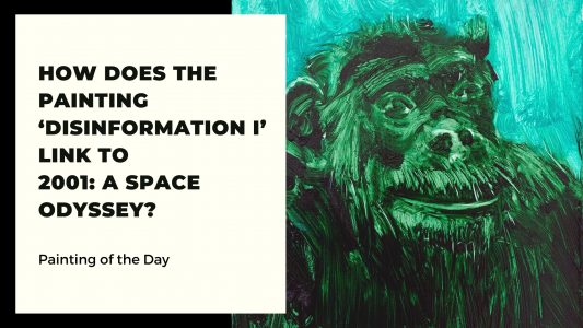 Painting of the Day: Disinformation I | Portrait of Chimpanzee